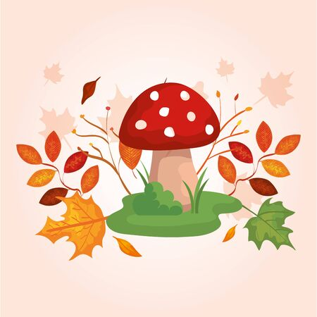 fungus with branches and leafs of autumn vector illustration design