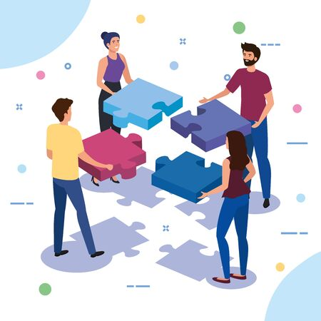 teamwork people with puzzle pieces vector illustration design