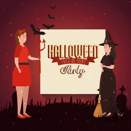 poster of party halloween with women disguised vector illustration design Stock Illustratie