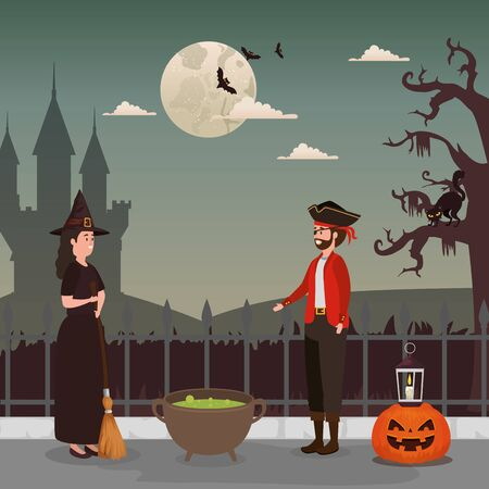 couple disguised with icons in scene halloween vector illustration design