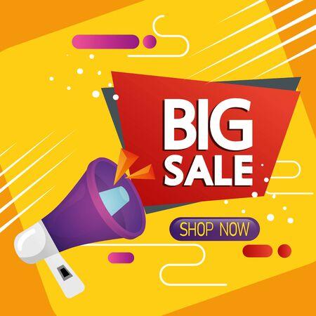 commercial label with big sale lettering and megaphone vector illustration design