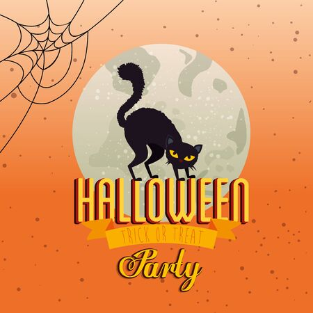 poster of party halloween with cat black and moon vector illustration design Stock Illustratie