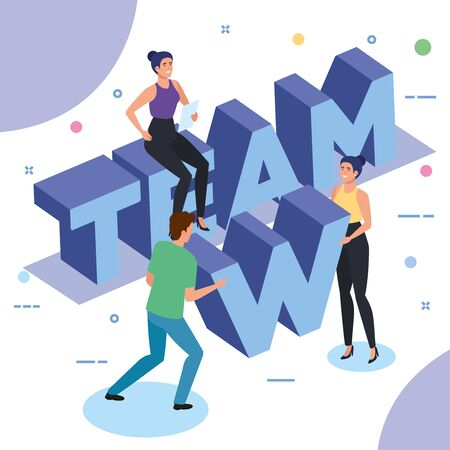 group of people working in team vector illustration design