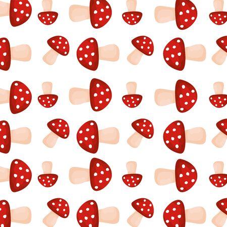 pattern of autumn mushrooms season vector illustration design