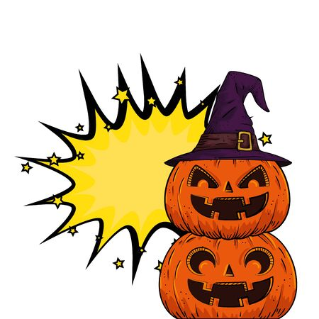 halloween pumpkins with hat witch pop art style vector illustration design
