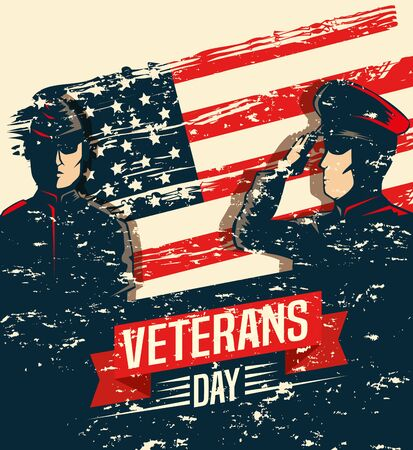 veterans day celebration with military and flag vector illustration design