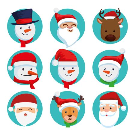 bundle christmas of faces santa claus with set characters vector illustration design