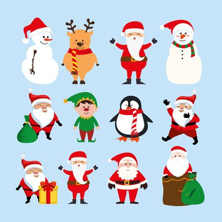 bundle christmas with santa claus and set characters vector illustration design Standard-Bild - 132627867