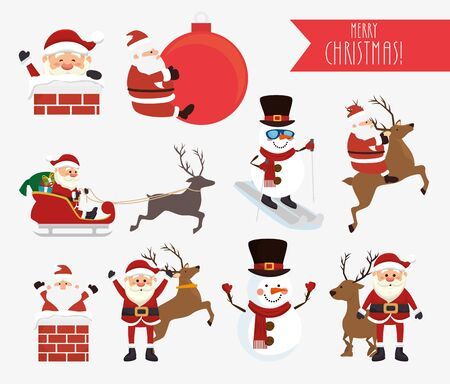 bundle christmas with santa claus and snowman vector illustration design Vectores
