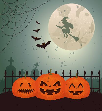 Halloween design with witch over moon and cemetery, vector illustration design