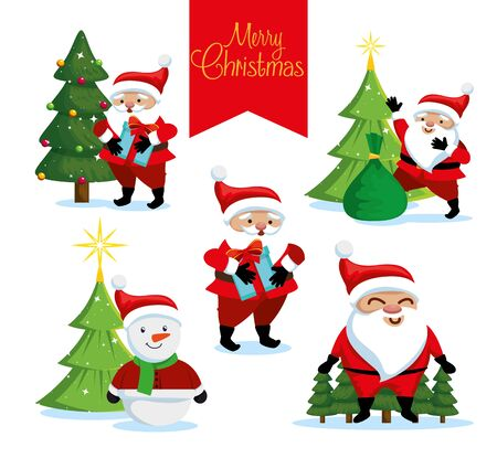 bundle christmas with santa claus and snowman vector illustration design 向量圖像