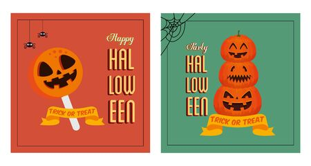set poster of party halloween with pumpkins and candy vector illustration design