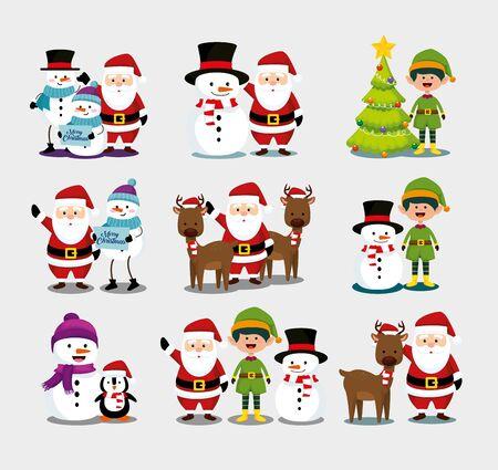 bundle christmas with santa claus and set characters vector illustration design Standard-Bild - 132620818