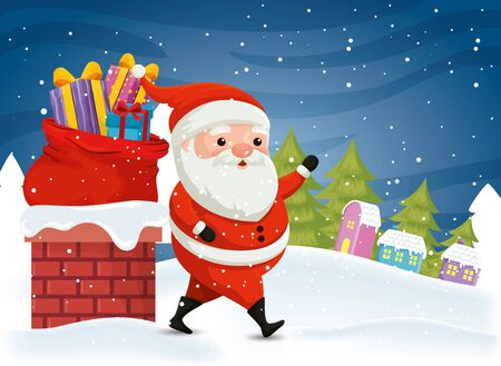 santa claus with gift boxes in winter scene vector illustration design