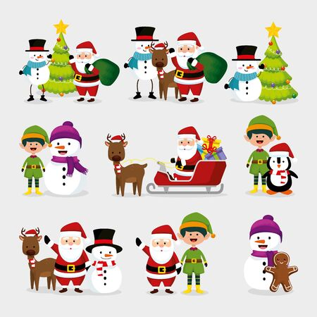 bundle christmas with snowman and set characters vector illustration design