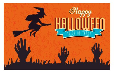 poster of happy halloween with hands zombie and witch flying vector illustration design