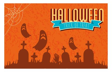 poster of halloween with ghosts in cemetery vector illustration design