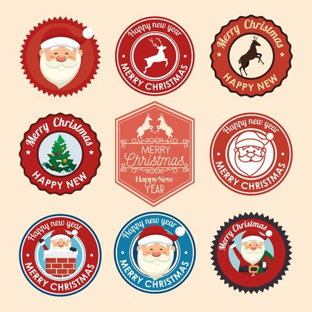 bundle christmas seals with set icons vector illustration design