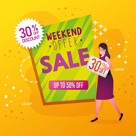 commercial label with weekend offer lettering and woman vector illustration design
