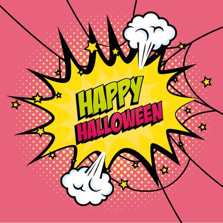 explosion with happy halloween lettering pop art style icon vector illustration design