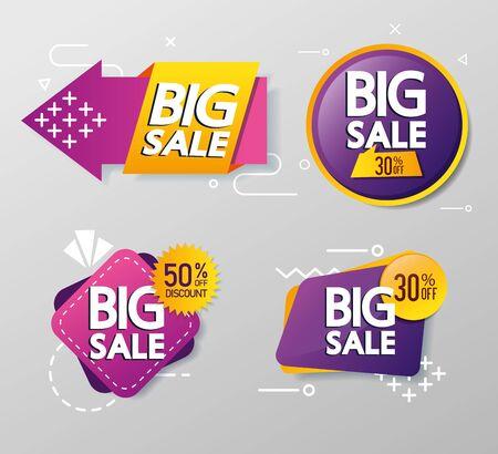 commercial stamp set with big sale lettering vector illustration design 向量圖像
