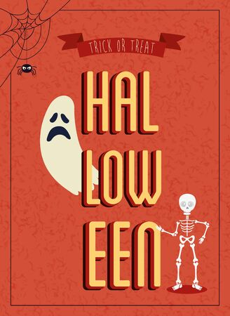 poster of halloween with ghost with skeleton vector illustration design