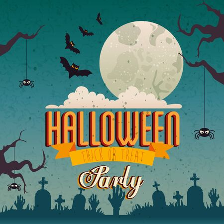 poster of party halloween with bats flying and icons vector illustration design