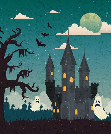 Haunted castle with cemetery and ghost in halloween scene, vector illustration design Иллюстрация