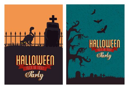 set poster of party halloween with decoration vector illustration design