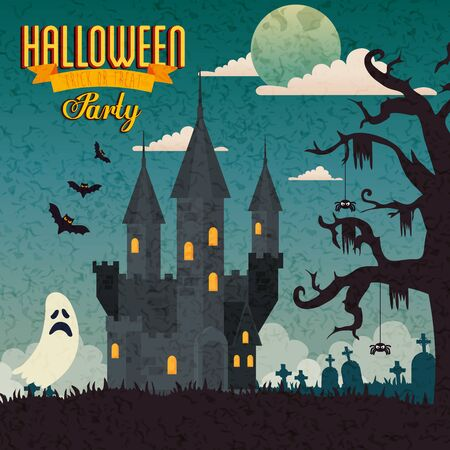 poster of party halloween with castle haunted and icons vector illustration design