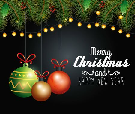card merry christmas with balls hanging and wreaths vector illustration design Illustration