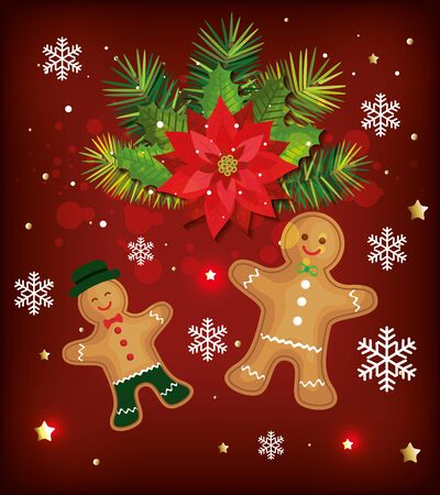 christmas poster with ginger cookies and decoration vector illustration design Vectores