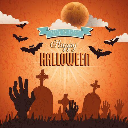 hands of zombie with bats flying in scene happy halloween vector illustration design Ilustração