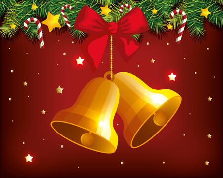 christmas poster with bells hanging and decoration vector illustration design Illustration