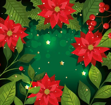 christmas poster with flowers and decoration vector illustration design Illustration