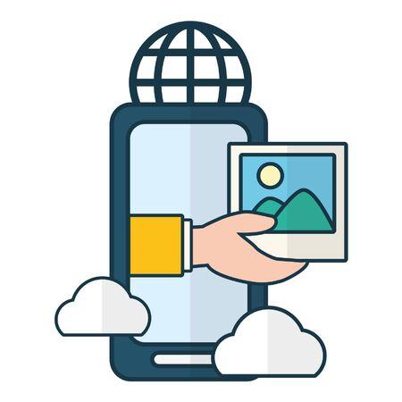 smartphone world message cloud computing send email vector illustration