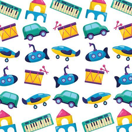 background kids toys drum submarine car piano decoration vector illustration