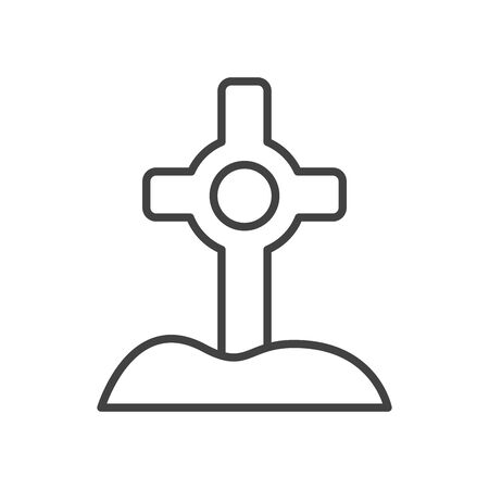 cemetery graveyard with rip icon vector illustration design