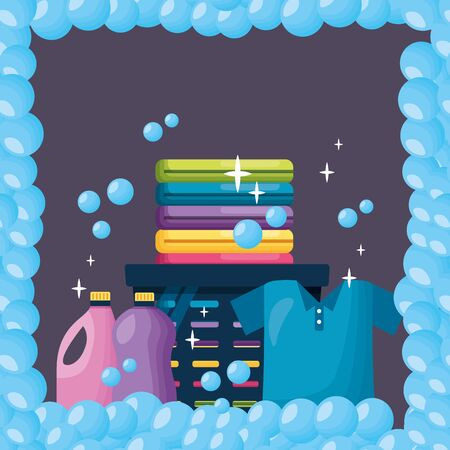 spring cleaning tools laundry detergent bubbles frame vector illustration