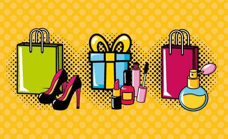 pop art elements collection gift bag fragrance high heel shoes vector illustration Stockfoto - 132648328