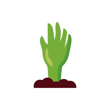 halloween zombie hand coming out of the ground vector illustration design Illustration