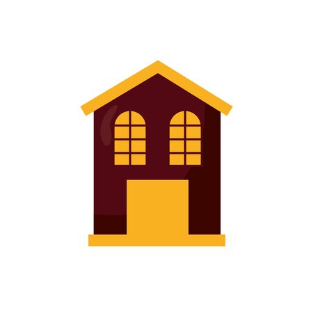 Halloween manson house isolated icon vector illustration design