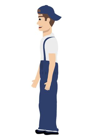 young mechanic worker avatar character vector illustration design