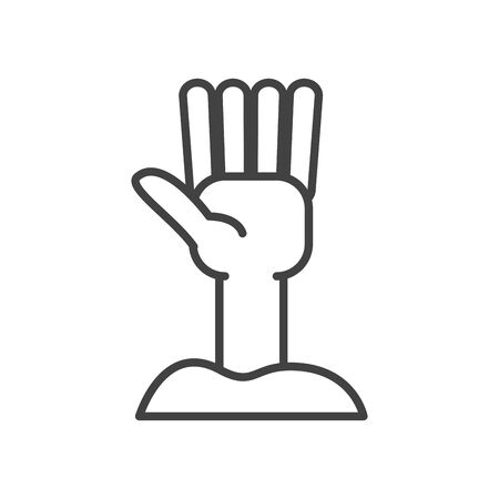 zombie hand coming out of the ground vector illustration design