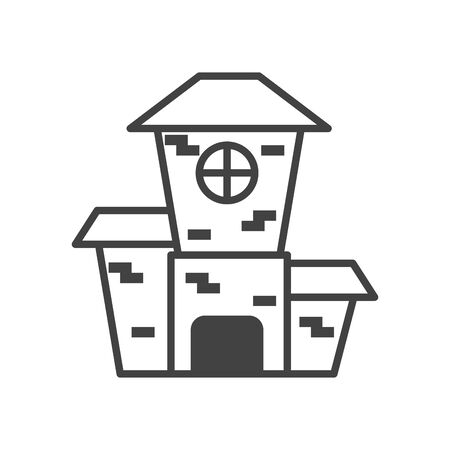 dark castle building halloween icon vector illustration design Ilustração