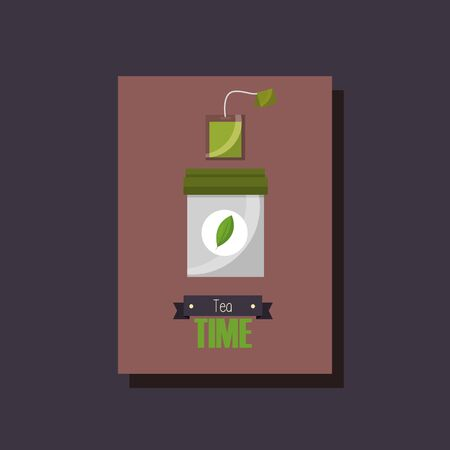 Green tea bag design, Drink breakfast beverage tradition kitchen and aromatic theme Vector illustration