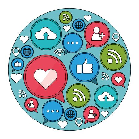 Social media and multimedia icon set, Apps communication digital marketing and internet theme Vector illustration