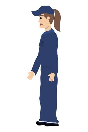 female young mechanic worker avatar character vector illustration design