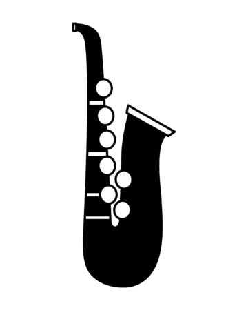 saxophone instrument on white background vector illustration Иллюстрация