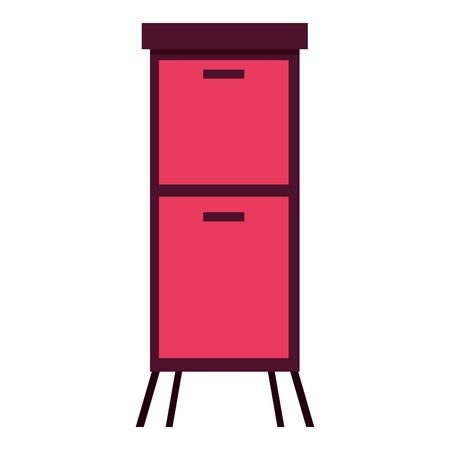 furniture drawers cabinet on white background vector illustration